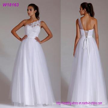 Lace Wedding Dress One-Shoulder White A-Line Lace up Floor Length Bridal Dress