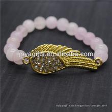 Großhandel Diamante Gold Flügel mit 8MM Halbedelstein Stretch Armband