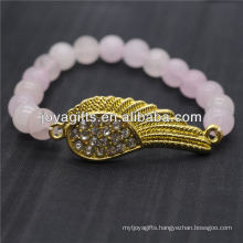 Wholesale Diamante Gold Wing With 8MM Semi Precious Stone Stretch Bracelet