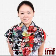 Ladies good-looking shawl mercerized wool shawl printed floral wool scarf