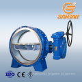 water gas steam triple eccentric metal hard seal butterfly valve gearbox worm gear drive butterfly valve