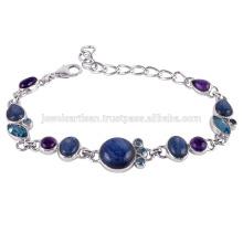 Bracelet en argent avec kyanite, améthyste et topaze bleue suisse