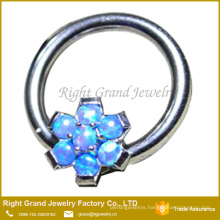 Prong Set Flower Synthetic Fire Opal Best Friend Nipple Ring