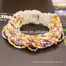 pulseira de cordão de semente na moda