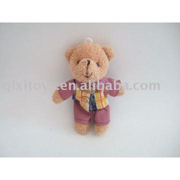 keychain enchido bonito do urso, teddybear do luxuoso com brinquedo dos macacões