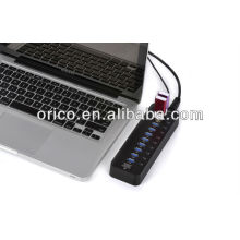 ORICO USB3.0 Super Speed HUB, 10 puertos USB3.0 hub; Hub 10 puertos USB3.0 con adaptador 12V4A