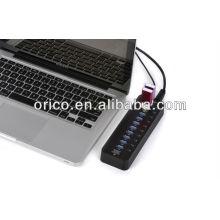 ORICO USB3.0 Super Speed HUB; hub USB3.0 de 10 portas; Hub USB3.0 de 10 portas com adaptador 12V4A