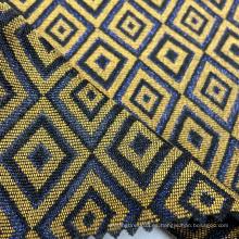 Tela de jacquard tejida de poliéster acrílico con patrón de cuadros de diamante dorado de lurex metálico de lujo para vestido de mujer