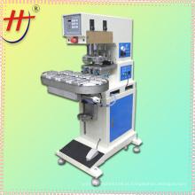 Máquinas de impressão de pad de precisão china, máquina de impressão de duas cores pad com transportador, impressoras pad para venda