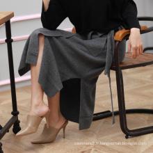 Lady dernière conception jupe de mode pli de pied pur jupe à tricoter en cachemire avec longue ceinture ceinture décor automne hiver crayon jupe