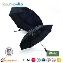 3 Folding auto aberto e fechar guarda-chuva cor preta à prova de vento