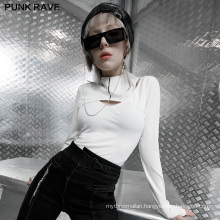 Punk style spring women shirt stand neck long sleeve white knit fit T shirts OPT-586T ladies clothes wholesale price PUNK RAVE