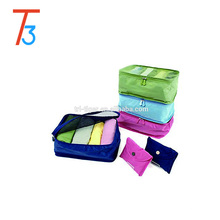 3 sets packing cube luggage organizer nylon mesh portable travel partition pouch storage bags for underwear and cosmetic bag