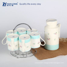 7pcs Pot And Mug Plain White Ceramic Tea Set, Promotional Antique Tea Set