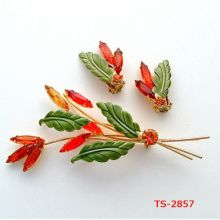 Ts-2857 2014 New Fashion Jewelry Cheap Color Jewelry Set Colored Rhinestone Jewelry Set Exquisite Orange Flower Brooch Earrings
