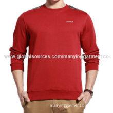 Men's fleece pullover hoodies, long sleeve with checked shoulder panel, customer logo & designsNew