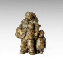 Восточная статуя Мать-сын Деревня Бронзовая скульптура Tple-002