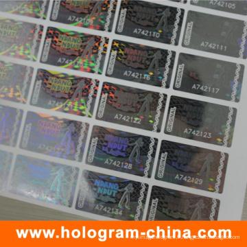 Autocollant d'hologramme de numéro de série transparent de la sécurité 2D / 3D