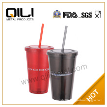 2014 new products clear double wall plastic cup with lid