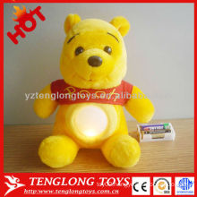 Lovely cute kids winnie bear night light plush toy