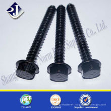 Titanium flange head self tapping screw black oxide