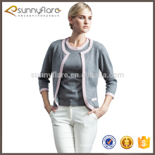 Custom design 100% cashmere cardigan twinset for women