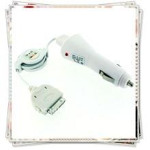 Chargeur de voiture avec ic white + usb câble de données rétractable