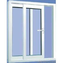 Ventana corrediza de PVC con ventana de vidrio de doble acristalamiento UPVC