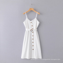 Women White Loose Solid Color Dress Long Dress