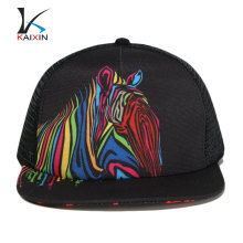 flat bill sublimation print trucker cap hat mesh cap