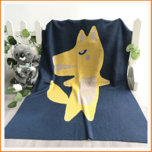 Cotton Baby Wolf Cartoon Pattern Knitted Blanket