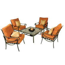 Outdoor/Balcony furniture 5pc slat chat set with cushion and firebox