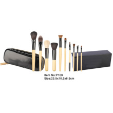 10pcs bamboo handle makeup brush tool set with box packing
