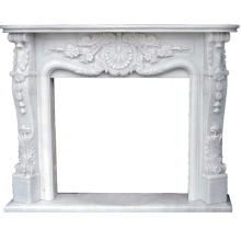 Antique European style facing stone carving marble fireplace