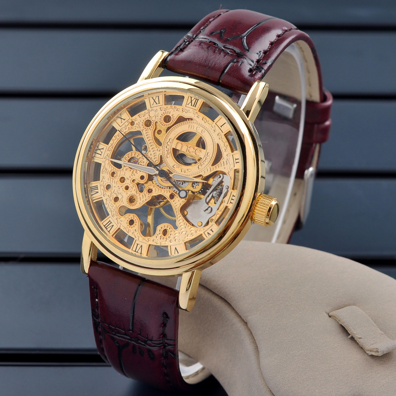 Casual mens leather strap skeleton wrist watch