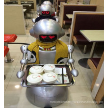 Robot Works in Eatery Instead of Waiter/Humanoid Bot Delivery Food