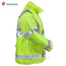 Lime Yellow Hi Vis Capucha de cinta reflectante ANSI Impermeable Chaqueta de lluvia con capucha de seguridad Traffic High Visibility Chubasquero