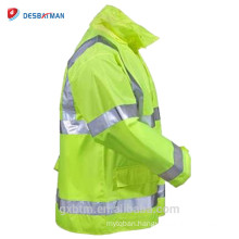 Lime Yellow Hi Vis ANSI Reflective Tape Hood Waterproof Safety Hooded Rain Jacket Traffic High Visibility Raincoat