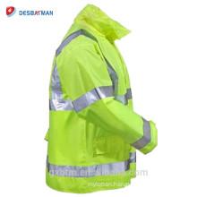 Lime Yellow Hi Vis ANSI Reflective Tape Hood Waterproof Safety Hooded Rain Jacket Traffic High Visibility Raincoat