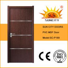 China atacado fábrica de portas de madeira PVC sólido simples (SC-P189)
