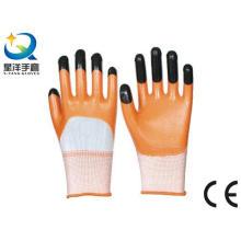 Orange Nitril 3/4 beschichtet, schwarze Nitrilfinger Verstärkte Handschuhe (N7001)
