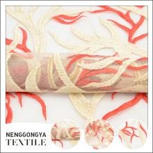 Design personalizado indiano moda floral tule bordado tecido de renda de casamento
