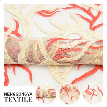 Tissu de dentelle de mariage de broderie de tulle floral de mode indienne de conception sur mesure