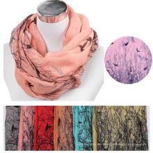 Womens Muster gedruckt Der Vogel und Baum Baumwolle Voile floral Stammes-Stile Infinity Warm Snood Kreis Hals Schal
