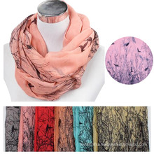 womens patterns printed The bird and tree cotton voile floral tribal styles Infinity Warm Snood circular neck Scarf