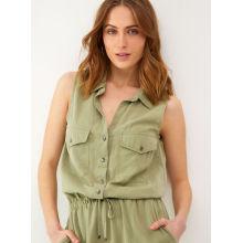 Sleeveless ladies green casual jumpsuit
