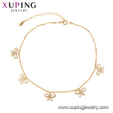 75146 Xuping fashion circle popular multiply butterfly jewelry adjustable 18k gold chains bracelet