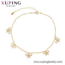 75146 Xuping moda círculo popular multiplicar jóias borboleta ajustável 18k pulseira de correntes de ouro