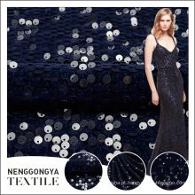 Top qualidade personalizado brilho pesado rodada lantejoula bordado tecido de veludo