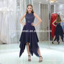 2017 nova moda ocidental do partido desgaste vestido de baile sem mangas frisada azul royal vestido de noite Irregular